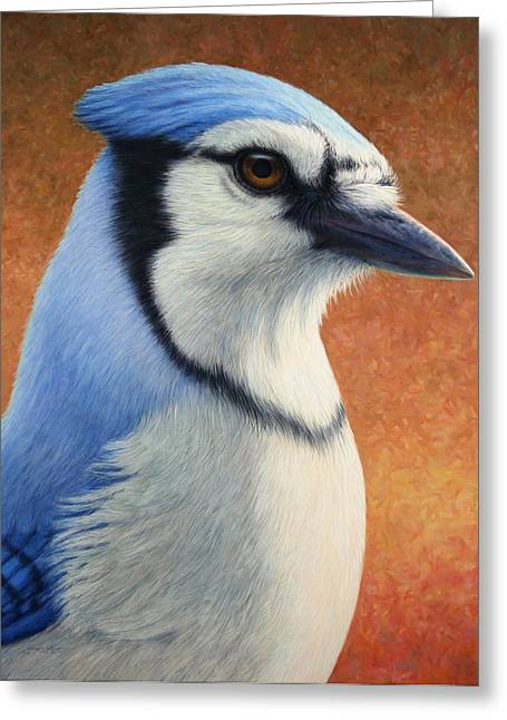 James Paintings Greeting Cards - Portrait of a Bluejay Greeting Card by James W Johnson