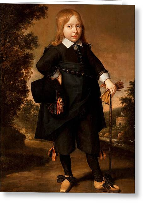 Portrait Of A Young Boy Greeting Cards - Portrait of a boy  Greeting Card by French School