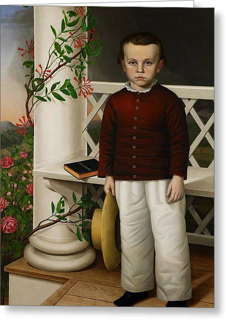 Full-length Portrait Paintings Greeting Cards - Portrait of a Boy Greeting Card by James B Read