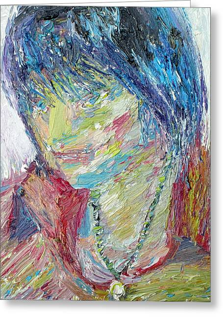 Gold Necklace Paintings Greeting Cards - PORTRAIT of a BOY - MARCUS Greeting Card by Fabrizio Cassetta