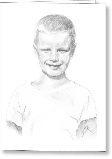 Baseball Shirt Greeting Cards - Portrait of a Boy Greeting Card by Masha Batkova