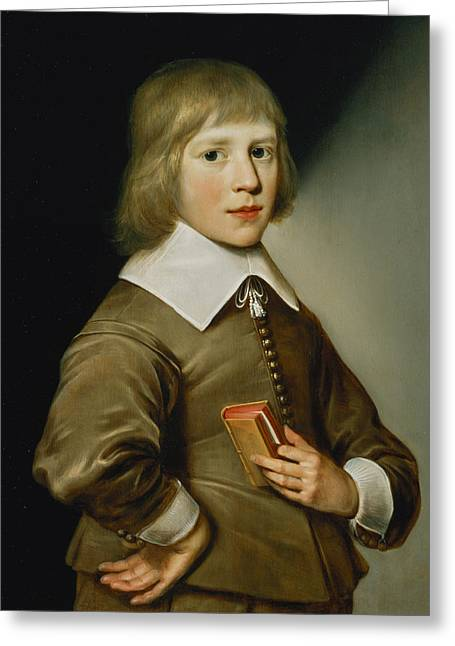 Lace Greeting Cards - Portrait Of A Boy Oil On Panel Greeting Card by Wybrand Simonsz. de Geest