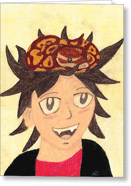 Snakes Pastels Greeting Cards - Portrait of a Boy with a Ball Python on His Head Greeting Card by Jessica Foster
