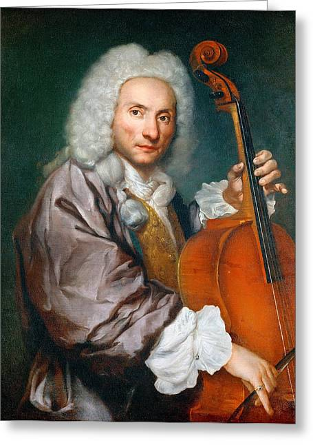 Cellist Greeting Cards - Portrait of a Cellist Greeting Card by Giacomo Ceruti