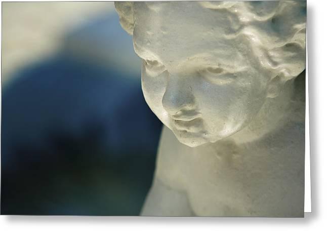 Pensive Greeting Cards - Portrait of a cherub Greeting Card by Maria Heyens