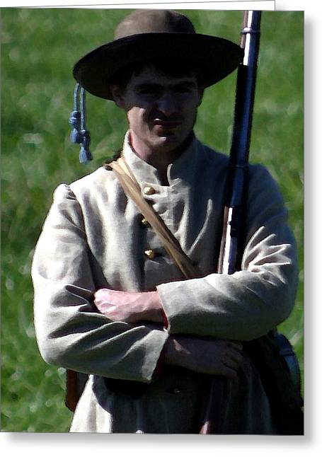 Bayonet Digital Art Greeting Cards - Portrait of a Confederate Soldier Greeting Card by Thia Stover