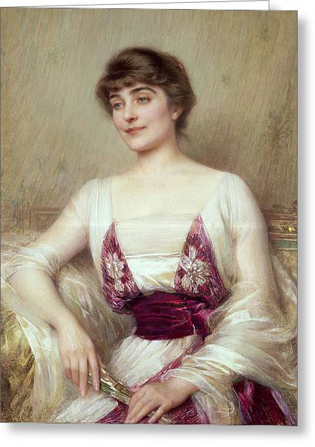 Countess Greeting Cards - Portrait of a Countess Greeting Card by Albert Lynch