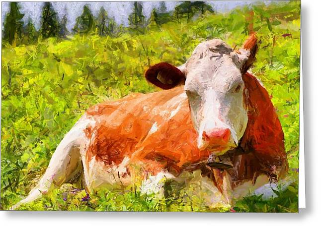 Lifestock Greeting Cards - Portrait of a Cow 2 Greeting Card by Kai Saarto