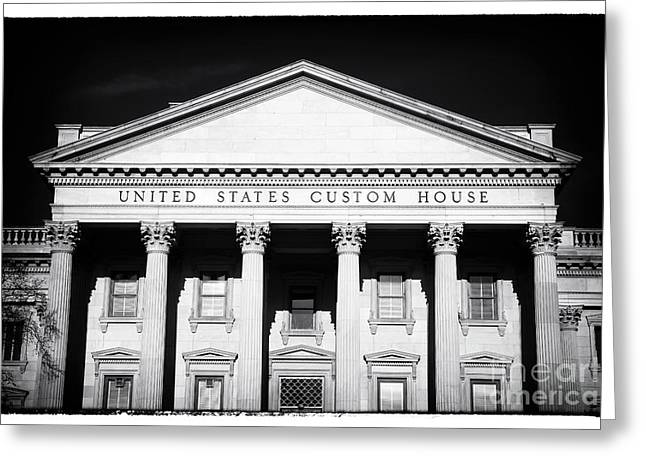 Old School House Greeting Cards - Portrait of a Custom House Greeting Card by John Rizzuto