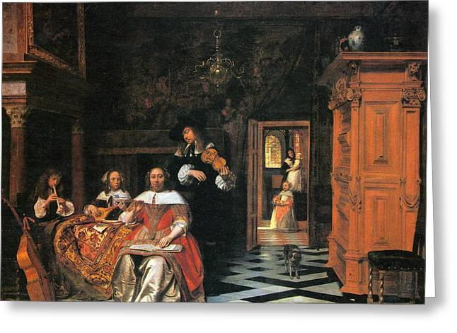 Hooch Greeting Cards - Portrait of a family playing music Greeting Card by Pieter de Hooch