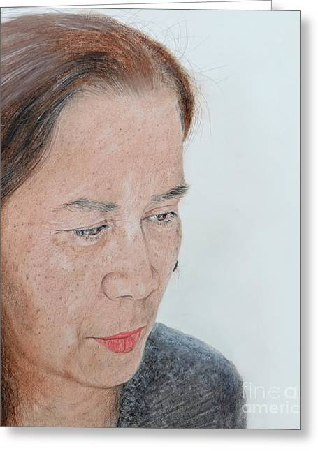 Beauty Mark Greeting Cards - Portrait of a Filipina in Thought  Greeting Card by Jim Fitzpatrick