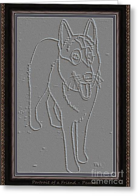 Dogs Digital Art Greeting Cards - Portrait of a Friend POAF00000002 Greeting Card by Pemaro