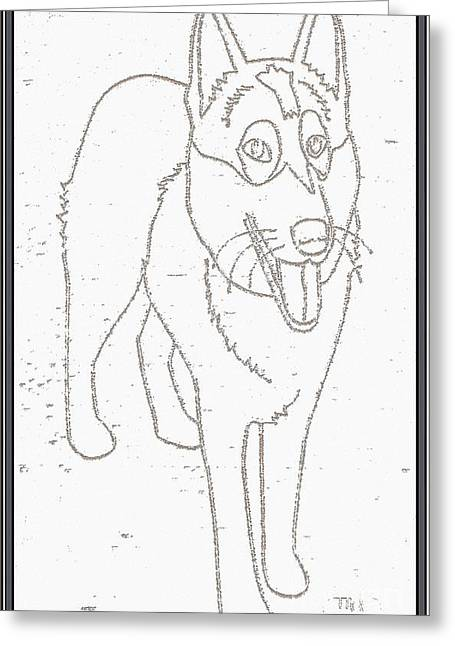 Dogs Digital Art Greeting Cards - Portrait of a Friend POAF000001 Greeting Card by Pemaro