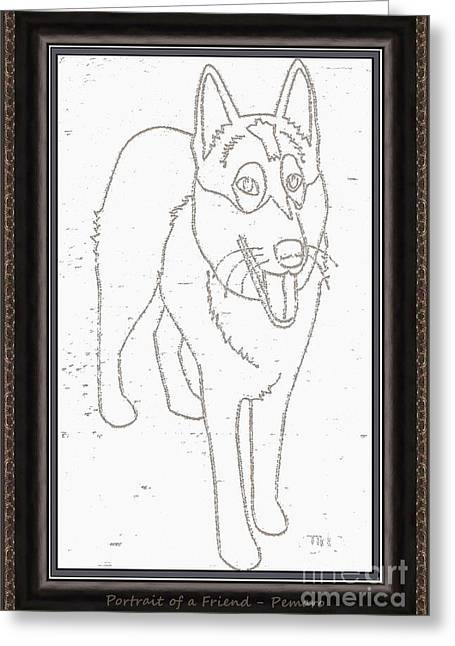 Dogs Digital Art Greeting Cards - Portrait of a Friend POAF000002 Greeting Card by Pemaro