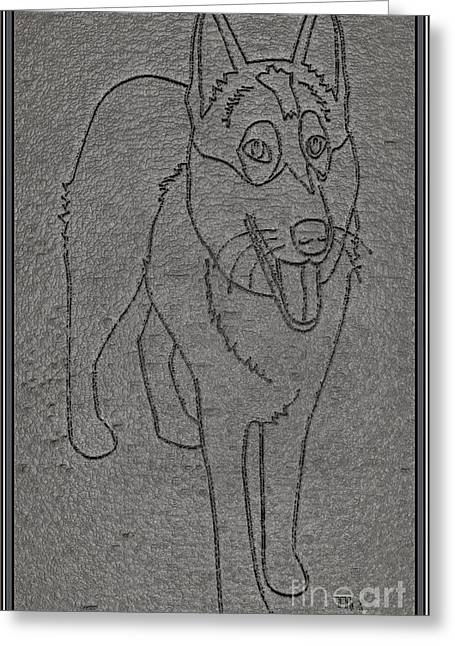 Dogs Digital Art Greeting Cards - Portrait of a Friend POAF00001 Greeting Card by Pemaro
