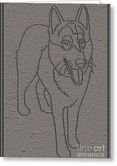 Dogs Digital Art Greeting Cards - Portrait of a Friend POAF0001 Greeting Card by Pemaro