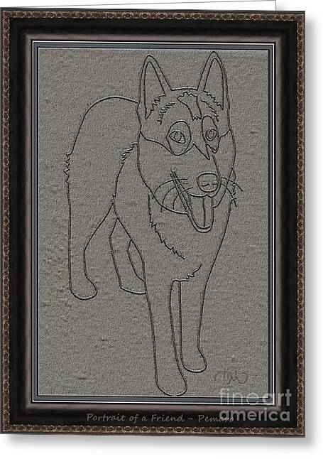 Dogs Digital Art Greeting Cards - Portrait of a Friend POAF0002 Greeting Card by Pemaro