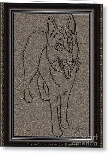 Dogs Digital Art Greeting Cards - Portrait of a Friend POAF02 Greeting Card by Pemaro