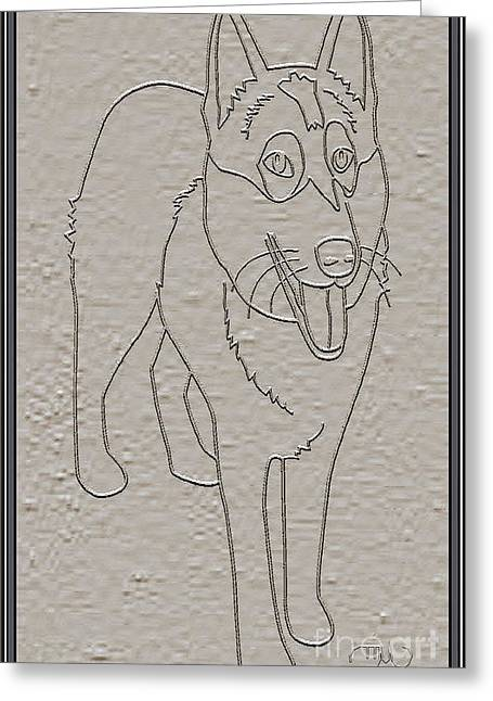Dogs Digital Art Greeting Cards - Portrait of a Friend POAF1 Greeting Card by Pemaro