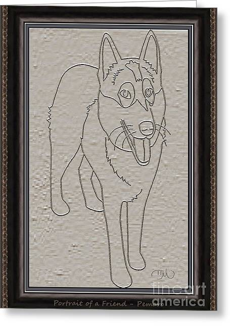Dogs Digital Art Greeting Cards - Portrait of a Friend POAF2 Greeting Card by Pemaro