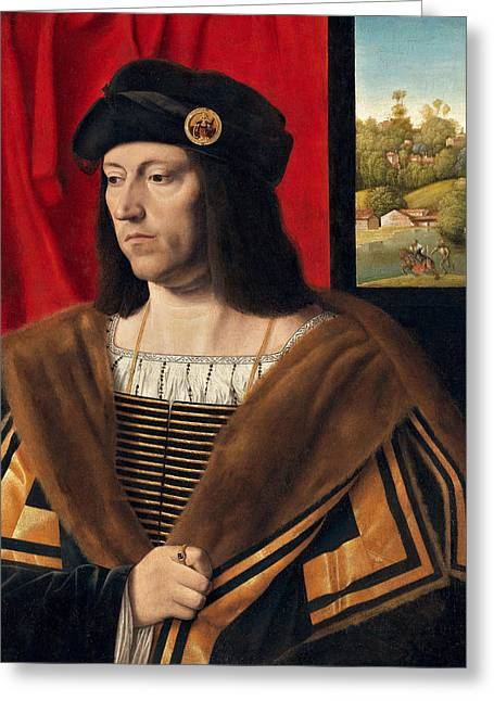 Waist Up Greeting Cards - Portrait of a Gentleman Greeting Card by Bartolomeo Veneto