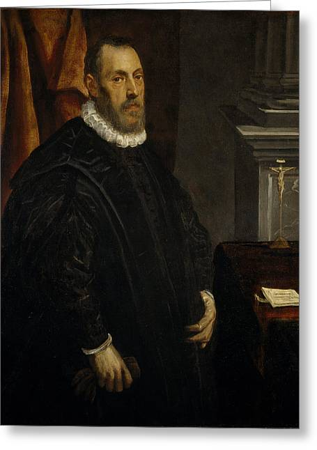Crucifix Greeting Cards - Portrait Of A Gentleman, C.1580 Oil On Canvas Greeting Card by Jacopo Robusti Tintoretto