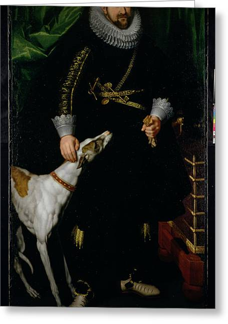 Greyhound Photographs Greeting Cards - Portrait Of A Gentleman Said To Be From The Coudenhouve Family Of Flanders, C.1610-20 Oil On Canvas Greeting Card by Hispano-Flemish School
