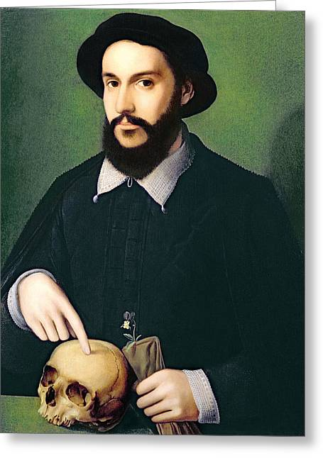Mortality Greeting Cards - Portrait Of A Gentleman With His Right Greeting Card by Master of the 1540s