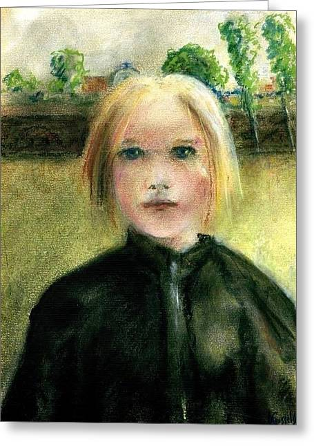 Fineart Pastels Greeting Cards - Portrait of a girl Greeting Card by Paul Gosselin