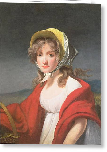 Bonnet Greeting Cards - Portrait Of A Girl Wearing A Red Shawl Greeting Card by Richard Westall