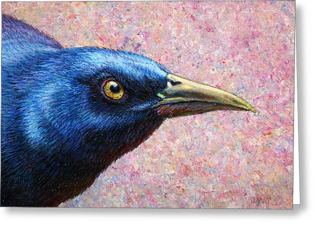 Blackbirds Greeting Cards - Portrait of a Grackle Greeting Card by James W Johnson