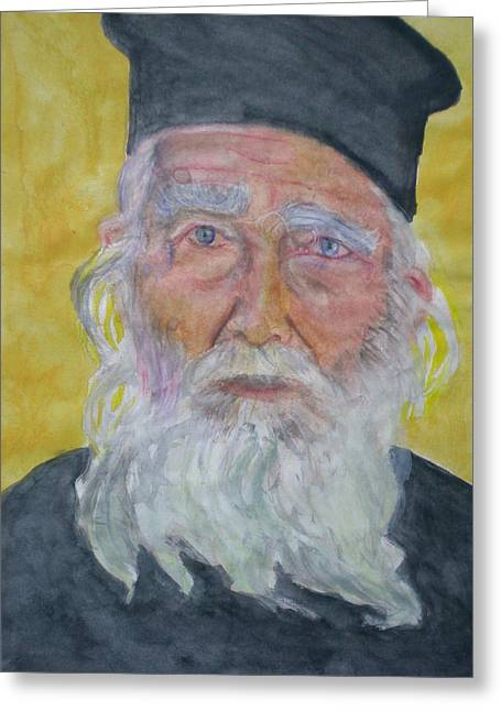 Orthodox Drawings Greeting Cards - Portrait of a Greek priest  Greeting Card by Alix Mordant