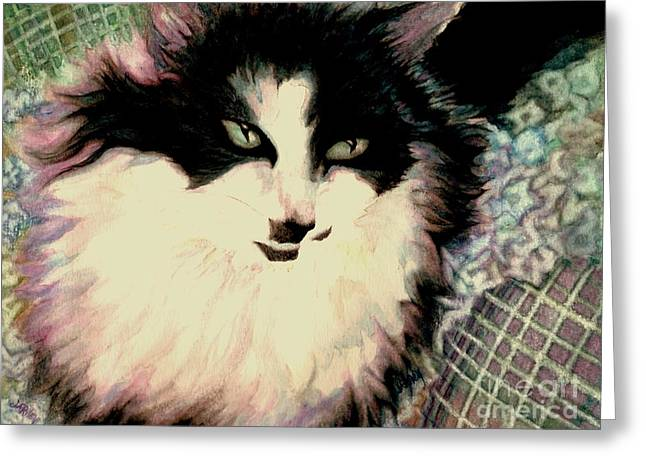 White Flannels Greeting Cards - Portrait of a green eyed cat Greeting Card by Janine Riley
