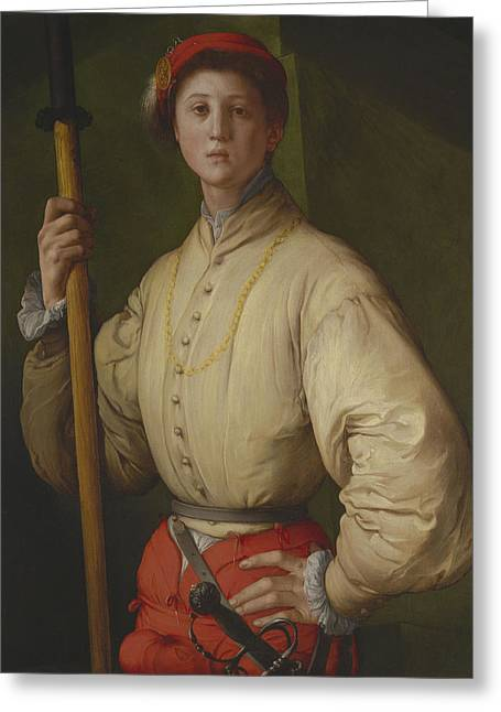 Mannerist Greeting Cards - Portrait Of A Halberdier Possibly Francesco Guardi C.1528-30 Oil On Panel Greeting Card by Jacopo Pontormo