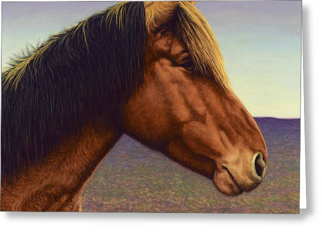 Domestic Greeting Cards - Portrait of a Horse Greeting Card by James W Johnson