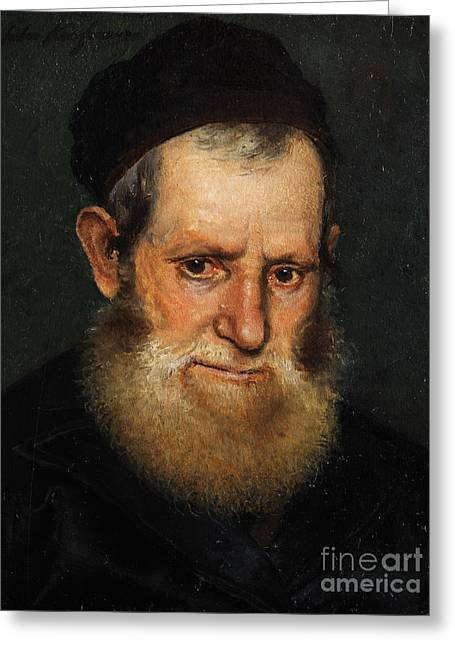 Orthodox Rabbi Greeting Cards - Portrait of a Jewish scholars Greeting Card by Celestial Images