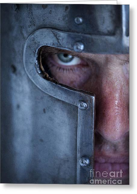 Sweating Photographs Greeting Cards - Portrait Of A Knight In Armour Close Up Greeting Card by Lee Avison