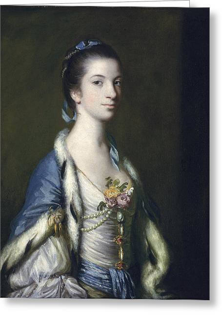 18th Century Greeting Cards - Portrait Of A Lady, 1758 Oil On Canvas Greeting Card by Sir Joshua Reynolds