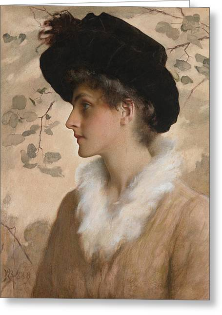 Portrait Of A Lady 1888 Greeting Card by George Henry Boughton