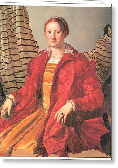 Bronzino Agnolo Greeting Cards - Portrait of a Lady Greeting Card by Agnolo Bronzino
