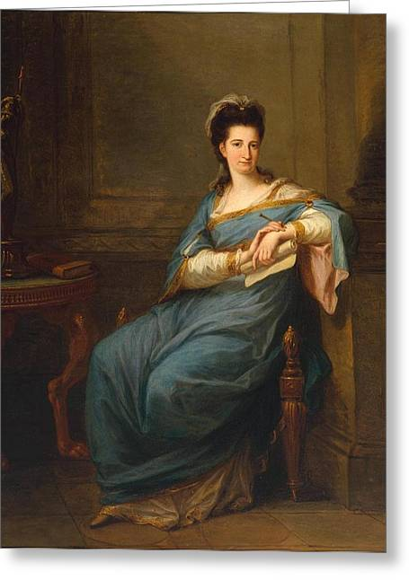 Angelica Greeting Cards - Portrait of a Lady Greeting Card by Angelica Kauffman