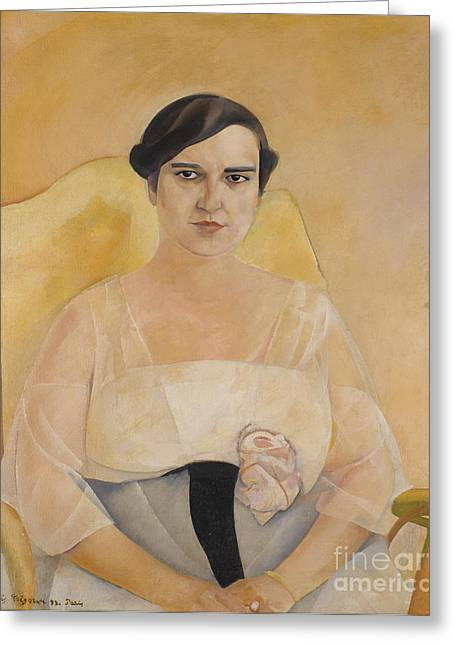 Orthodox Paintings Greeting Cards - Portrait Of A Lady Greeting Card by Boris Grigoriev