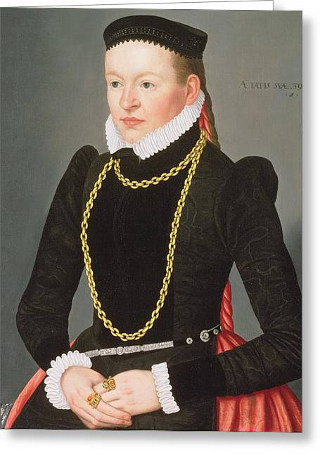 Chain Ring Greeting Cards - Portrait Of A Lady, C.1585 Greeting Card by Lorenz Strauch