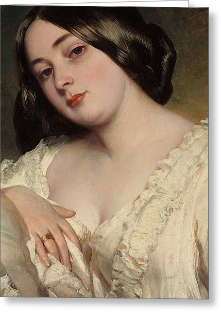 Franz Xaver Winterhalter Greeting Cards - Portrait of a lady Greeting Card by Franz Xaver Winterhalter