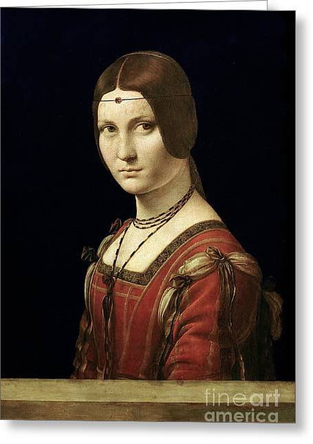 Davinci Greeting Cards - Portrait of a Lady from the Court of Milan Greeting Card by Leonardo Da Vinci
