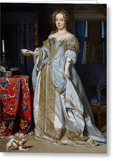 Full-length Portrait Paintings Greeting Cards - Portrait of a Lady Greeting Card by Gabriel Metsu