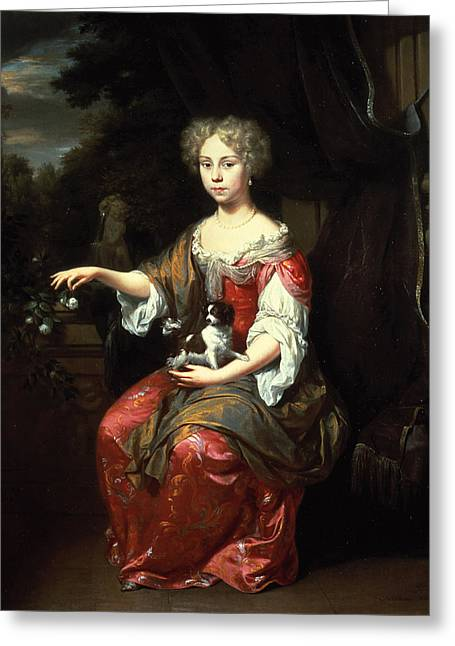 Earrings Photographs Greeting Cards - Portrait Of A Lady Holding Her Pet King Charles Spaniel Oil On Canvas Greeting Card by Jan Verkolje
