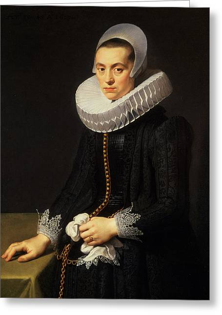 Lace Greeting Cards - Portrait Of A Lady In A Black Dress Greeting Card by Nicolaes Eliasz