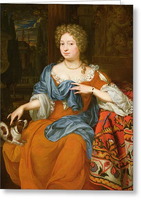 Jewellery Greeting Cards - Portrait Of A Lady In A Red Dress, 1691 Greeting Card by Thomas van der Wilt