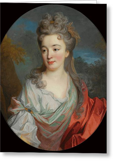 White Shirt Greeting Cards - Portrait of a Lady Greeting Card by Jean-Baptiste Oudry